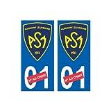 ASM Clermont Auvergne nouveau logo numéro au choix autocollant plaque immatriculation auto ville sticker - Angles : droits...