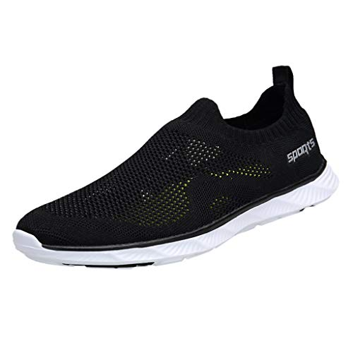 Fenverk Paar Mode Freizeit Laufsport Socken Schuhe Damen Student BeiläUfig Elastisch Leichtgewichtige Turnschuhe MäDchen Sport Stiefeletten Slip On Net Schuh(Schwarz,36 EU)