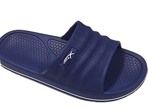 Mens Beach Pool Sliders Flip Flops Slip On Mules Shower Sandals Shoes Size 6-11 (UK 10, Navy Blue)