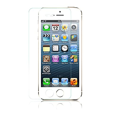 iProtect Screen Protector Tempered Glass Hartglas Schutzfolie für iPhone 5, 5s, 5c Display Schutzglas