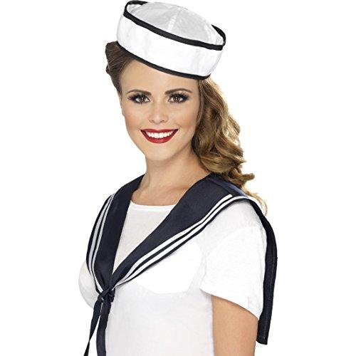(Amakando Matrosen Kostüm Set Damen Matrosenkostüm Kit Matrosenmädchen Kragen und Mütze Marine Outfit Collar und Schiffchen Matrosin Verkleidung Seemann Kostümzubehör)