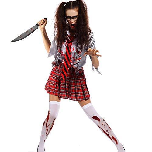 Halloween Gr.L Sexy 3tlg Zombie Damen Kostuem Schulmaedchen Karneval School Student Horror Hexe Vampir (Kostüme Schulmädchen Zombie)