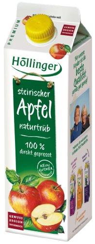 Höllinger Steirischer Apfelsaft naturtrüb 100 %, direkt gepresst, ohne Zuckerzusatz, Tetra - 1L (Apfelsaft 1 Liter)