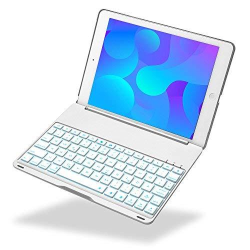 iEGrow Tastatur Kompatibel mit Neues iPad 2018 9.7, Neues F8S Tastatur für Neues iPad 9.7 Zoll 2018 / 2017 und iPad Air [QWERTZ deutsches Tastaturlayout] Silber