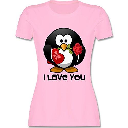 Valentinstag - Pinguin Rose Pralinen Geschenk - tailliertes Premium T-Shirt mit Rundhalsausschnitt für Damen Rosa