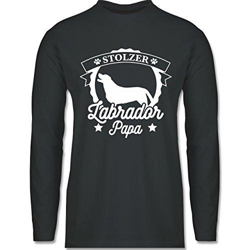 Shirtracer Hunde - Stolzer Labrador Papa - Herren Langarmshirt Dunkelgrau