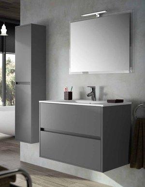 Conjunto de mueble de baño en 80o 90cm. Noja 800–900con espejo y foco LED. varios finitions