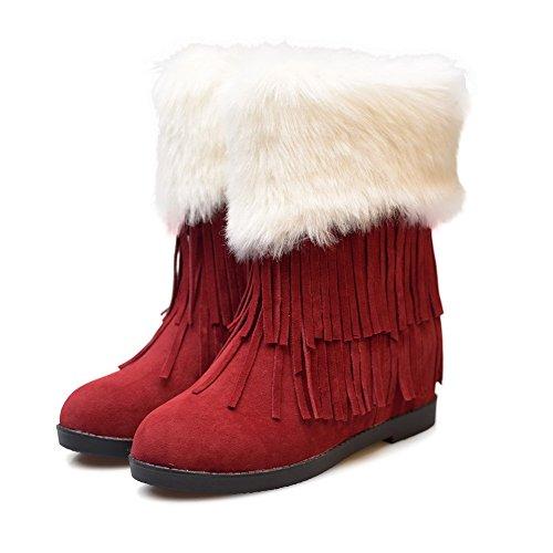 AllhqFashion Damen Niedriger Absatz Rein Rund Zehe Mattglasbirne Ziehen Auf Stiefel Rot