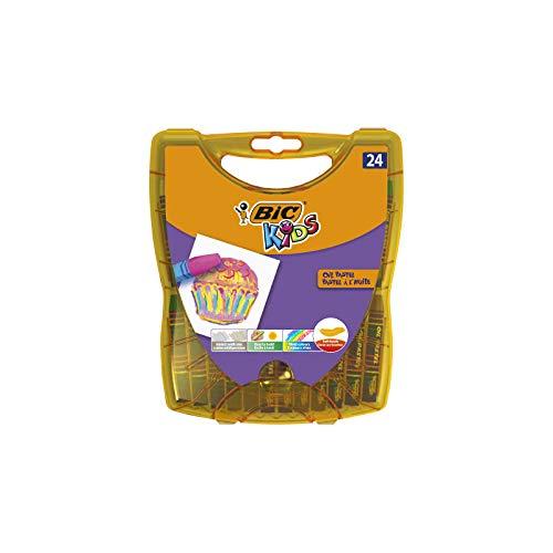 BIC Kids Oil Pastels für Kinder - Ergiebige Ölpastellkreide Stifte mit praktischer Aufbewahrungsbox - 24 Kreidestifte ab 5 Jahren