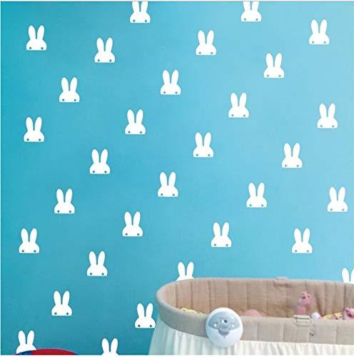 AZLIXLH Pet Bunny Ohren Wandaufkleber, niedlichen Kaninchen Vinyl Aufkleber Aufkleber weiße Hasen Wandkunst für Nusery Raumdekoration 7,5 cm x 9,5 cm