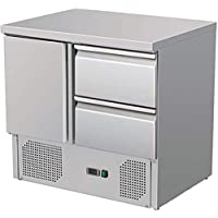 ZORRO - Kühltisch ZS 901 2D - 1 Tür - 2 Schubladen - Gastro Saladette mit Arbeitsfläche - R600A - Digitales Thermostat