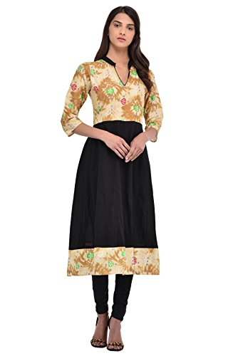 Kiara Women's Cotton Light Brown Printed Stitched Anarkali Kurta Kurti (Small)  available at amazon for Rs.399
