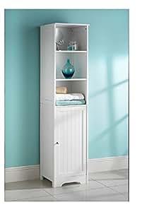 White Bathroom Tall Boy cabinet: Amazon.co.uk: Kitchen & Home