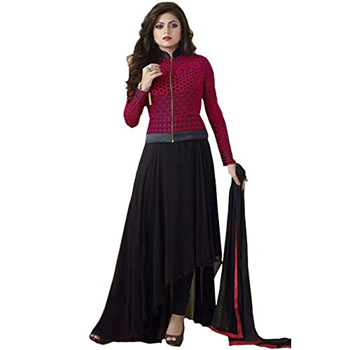 Bollywood Drashti Dhami Georgette and Net Party Wear Anarkali Suit In Maroon and Black Colour  available at amazon for Rs.1174