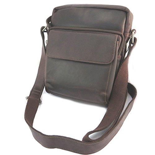 Bolsa de cuero 'Gianni Conti'oscuro marrón de la vendimia - 24x22x9 cm.