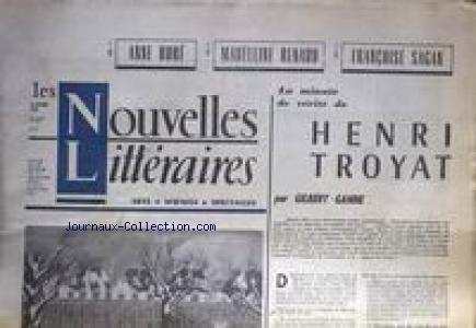 NOUVELLES LITTERAIRES (LES) [No 1886] du 24/10/1963 - HENRI TROYAT PAR GILBERT GANNE - ANE HURE - MADELEINERRENAUD - F. SAGAN.