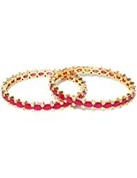 Jewels Galaxy Exclusive Traditional Pink Ruby Designed Elegant Gold Plated Slim Bangle Set For Women/Girls - Set...