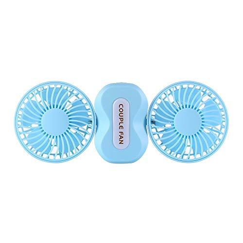 Younthone USB-Mini-Paar GegenüBer Creative Fan Mit Zwei KöPfen 180-Grad-Drehung Desktop Ventilator Mehrzweckventilatoren 1200mAh