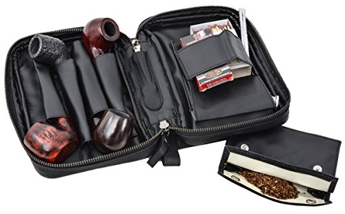 Borsa portapipe di Gusti Leder studio ''Rupert'' per 4 pipe portatabacco fiammiferi custodia pelle nero 2T3-22-9