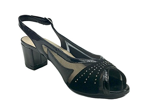 Sandali donna casual /eleganti linea comoda con tacco 6101 Nero