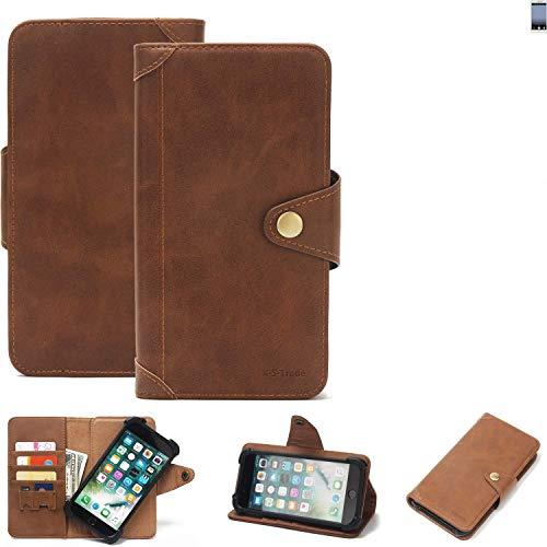 K-S-Trade Handy Hülle für TP-LINK Neffos C7 Schutzhülle Walletcase Bookstyle Tasche Handyhülle Schutz Case Handytasche Wallet Flipcase Cover PU Braun (1x)