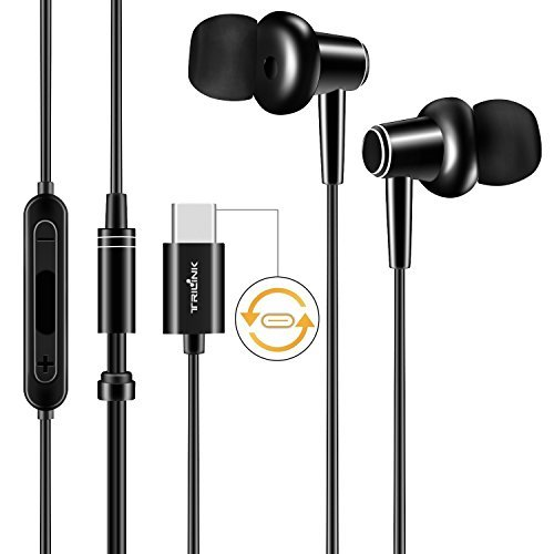 TriLink USB Typ C Ohrhörer Kopfhörer für Moto Z Serie / Z Force, Huawei Mate 10 / Pro, Xiaomi Mi 6 / Mix 2 / Note 3, In-Ear Kopfhörer mit Rauschunterdrückung, Mikrofon und Lautstärkeregler (Schwarz)