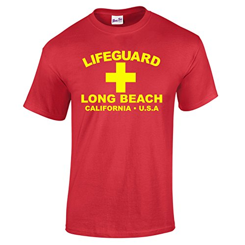 Herren Lifeguard Long Beach California USA Surfer Beach Kostüm T-Shirt Rot ()