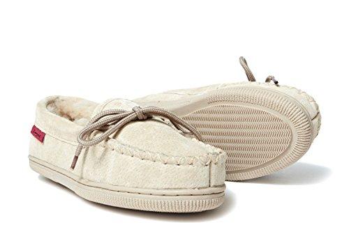 Pantofole pelle di pecora Mocassino ELBA (100% pelliccia d'agnello) Beige
