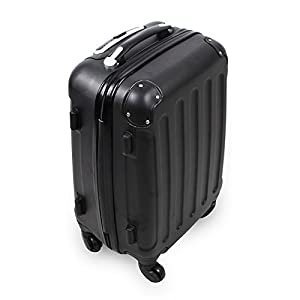 Todeco - Hand Carry Suitcase, Cabin Luggage - Material: ABS plastic - Wheel type: 4 wheels 360° rotation - Protected corners, Carry-on 20 inch, Black, ABS