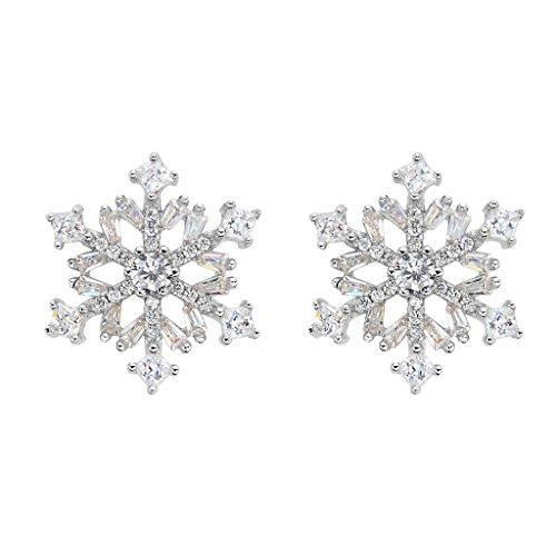 EVER FAITH® 925 Argento Cubic Zirconia Inverno Fiocco di neve Fiore Orecchini N07292-1