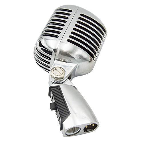 YUANYUAN520 Micrófono Profesional con Cable Vintage Clásico Micrófono Dinámica Bobina Móvil Mike Deluxe Metal Vocal Estilo Antiguo Micrófono Ktv, Plateado