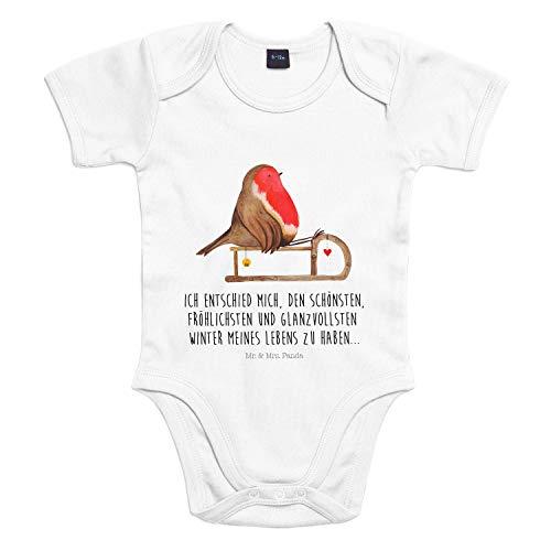 Mr. & Mrs. Panda Strampler, Bodysuit, 3-6 Monate Baby Body Rotkehlchen Schlitten mit Spruch - Farbe Transparent