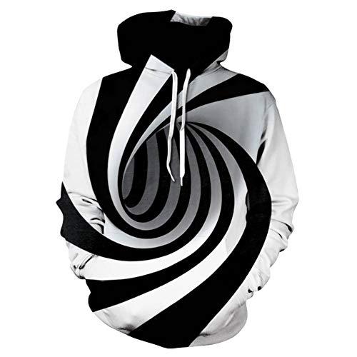 JUWBCHD Hypnose Vortex Hoodies Sweatshirt Männer Frauen Plus Size 3D Hoodie Whirlpool Drucken Lustige Hip Hop Trainingsanzug Streetwear