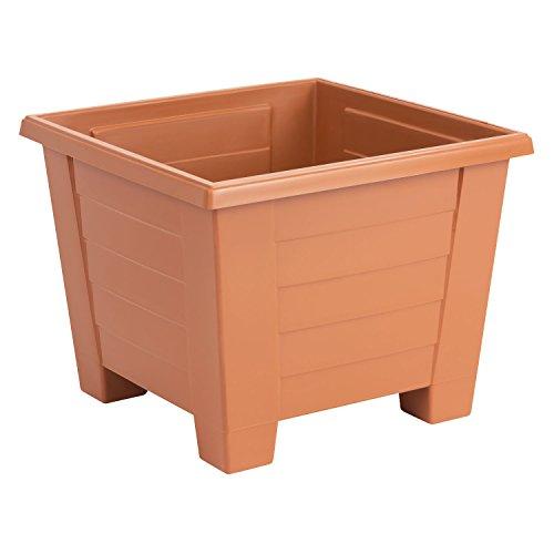 Lot de 5 Muza carre cache pots en plastique, largeur: 31.5 cm, en terre cuite