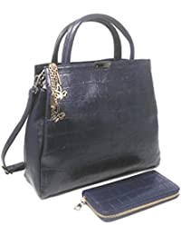 Di Grazia Women's 2 In 1 Combo Of Croc Pattern Wallet & Handbag (Navy Blue, Navy-Blue-2in1-Croc-Combo)