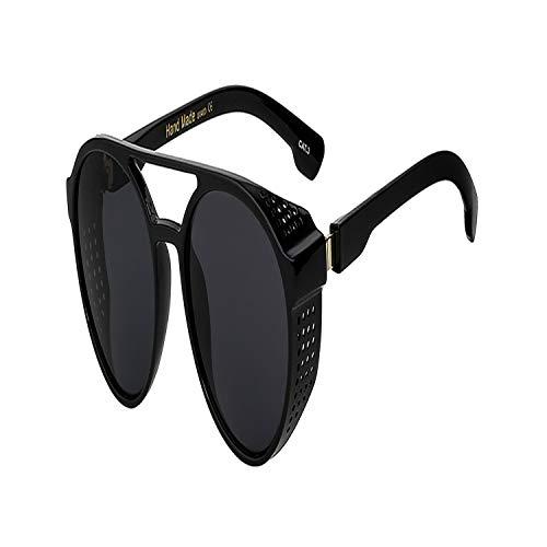 Sportbrillen, Angeln Golfbrille,NEW Steampunk Vintage Mens Sunglasses Fashion Luxury Brand Designer Men Women Sun Glasses Pilot Shades Eyewear UV400 Black w black