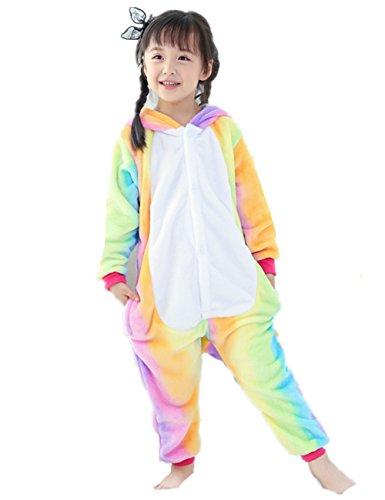 Kenmont Enfants Adulte Unisexe Animal Costume Cosplay Combinaison Licorne Pyjama Nuit Vêtements Soirée de Déguisement (Größe 125, enfants-rainbow licorne)