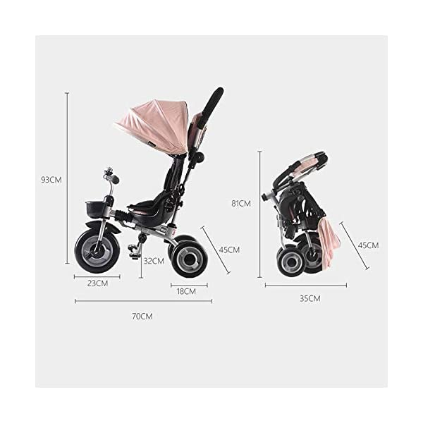 BGHKFF Childrens Folding Tricycle 6 Months To 6 Years Light And Sturdy Kids Tricycle Detachable And Adjustable Push Handle 3-Point Safety Belt Child Trike Maximum Weight 50 Kg,Pink BGHKFF ★ 4-in-1 multi-function: convertible into stroller and tricycle. Remove the backrest and awning as a tricycle. ★Material: Carbon steel + environmentally friendly plastic, suitable for children from 6 months to 6 years old, maximum weight: 50 kg ★ Tricycle foldable, space saving, easy to carry, is the best travel companion, 3-point seat belt, front wheel clutch, rear wheel brake 5