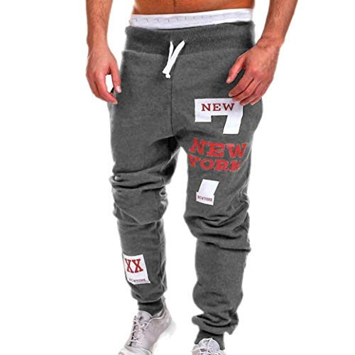 Herren Hosen Männer Nner New Gedruckt York Fashion Casual Brief Jogging Kordelzug Trousers Pants (Color : Dunkelgrau, Size : 4XL-Waist:109cm)
