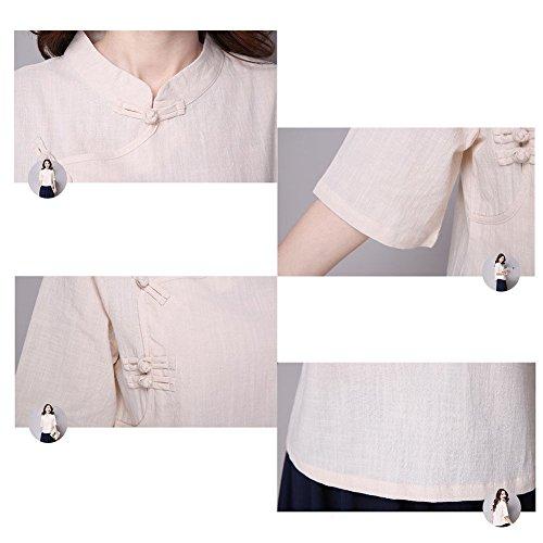 Hzjundasi Estate Retro Stile cinese Manica 3/4 Camicia Folk-custom sciolto Biancheria Tops camicette Rosa