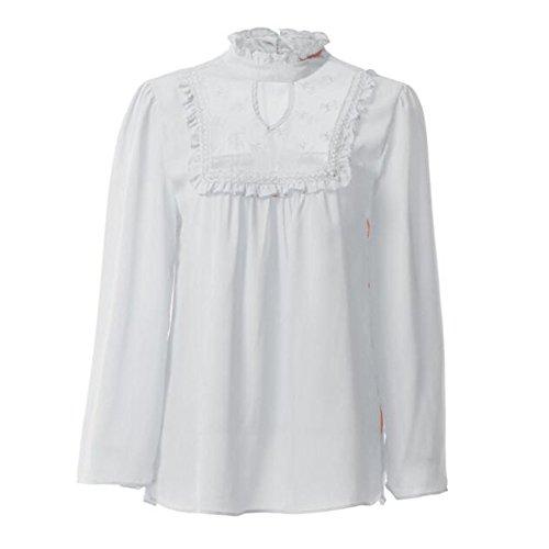 Juleya Top pullover da donna a maniche lunghe in pizzo con maniche lunghe a maniche lunghe bianca