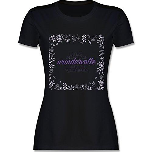 Statement Shirts - Inspirierende Zitate - Du kannst wundervolle Dinge - tailliertes Premium T-Shirt mit Rundhalsausschnitt für Damen Schwarz