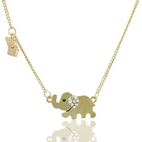 MESE London Gold Elephant Necklace Cute Ladies Pendant - Elegant Gift Box