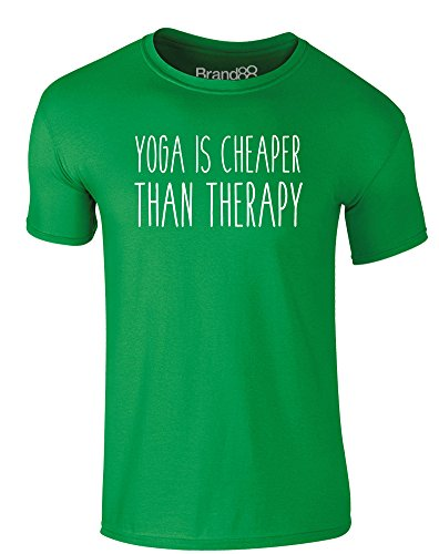Brand88 - Yoga is Cheaper Than Therapy, Erwachsene Gedrucktes T-Shirt Grün/Weiß