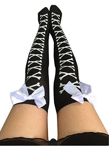 TWIFER Lustige Frauen Mädchen Huhn Kreative Print Cartoon Oberschenkel Socken Overknee Strümpfe (Weiß-1, Freie Größe)