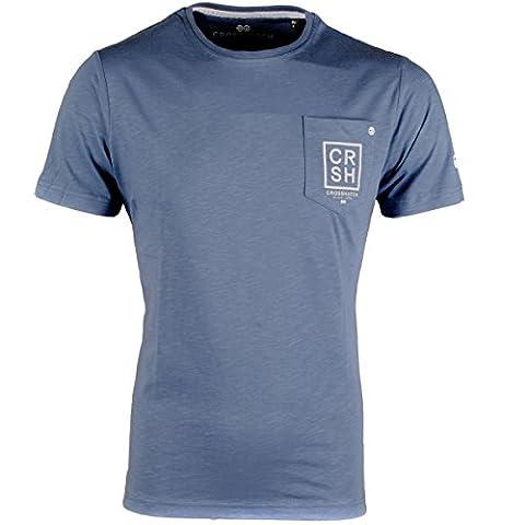 Men's Crosshatch chest Pocket Printed Back T Shirt Crew Neck