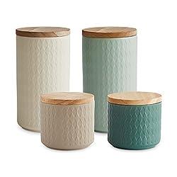 Keramik Vorratsdosen mit Holzdeckel Nordic Reef | Luftdichter Kautschukholz-Deckel | 9,3 bis 18,3 cm Höhe | Aufbewahrungsdosen | Frischhaltedosen