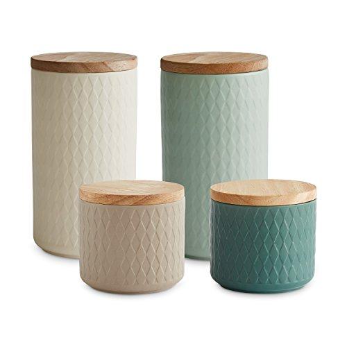 Keramik Vorratsdosen mit Holzdeckel Nordic Reef von Springlane Kitchen | Luftdichter Kautschukholz-Deckel | 9,3 bis 18,3 cm Höhe | Aufbewahrungsdosen | Frischhaltedosen