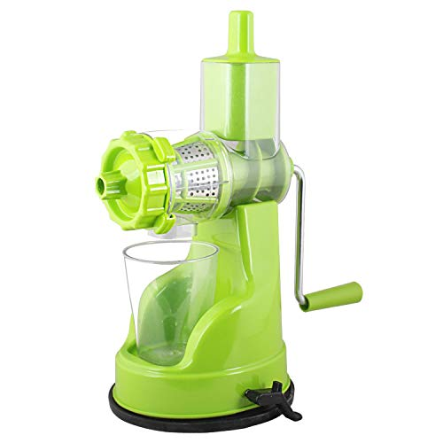 Qualimate Hand Juicer for Fruits and Vegetables with Steel Handle Vacuum Locking System (Green)