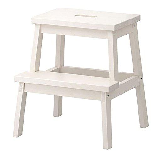 CHAOXIANG Klappleiter Hocker Multifunktion Tragbar 2 Schritte Fußbank Regal Birke 2 Farben Höhe 50 cm (Farbe : Weiß) (2 Regal Bücherregal Birke)